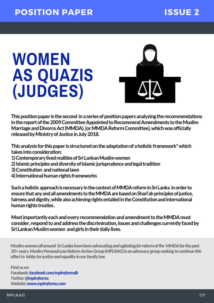 Women As Quazis Judges Position Paper 2